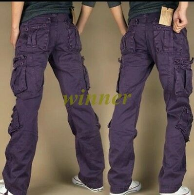 2018 Mens FASHION ARMY CARGO COMBAT WORK PANTS CASUAL CAMO MILITARY TROUSERS Sz