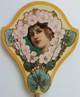 Vintage Advertising Fan, pin-up, flapper girl, Gould Soda Fountain, deco, 1905