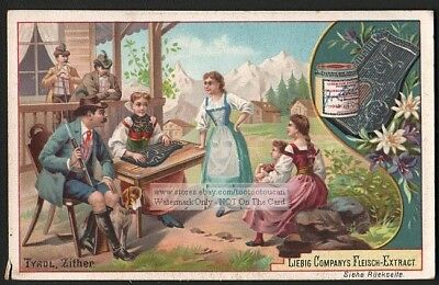 Zither Cithare  Instrument German Tyrol c1895 Trade Ad Card