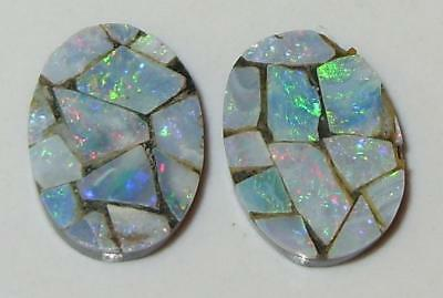 8.12ct Pair Australia Opal Mosaic Doublet Ovals 14x10mm SPECIAL