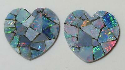 9.89ct Pair Australia Opal Mosaic Doublet Hearts 15mm SPECIAL