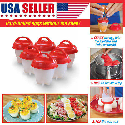 6pcs Egglette Egg Cooker Egg Boiler without the Shell Silicone Diy Tools Hot USA