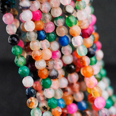 6mm Mixed color Faceted agate loose beads 36CM string