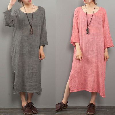 f084b5e9e8f Summer Womens Strappy Cotton Linen Tank Maxi Long Dress Baggy Inside Kaftan  Plus.