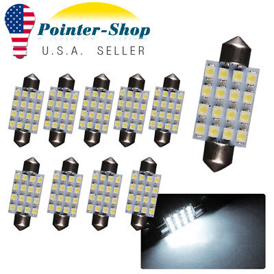 20X Ultra Blue T10 10-SMD LED Interior Side Wedge Dome Light Bulbs W5W 168 192