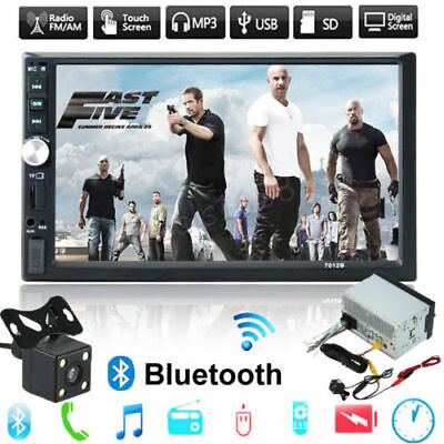 "7"" Double 2-din Car MP5 MP3 Player Bluetooth Touch Screen Stereo Radio HD Camera"