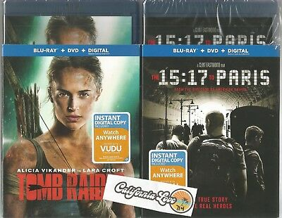 Tomb Raider (2018) + 15:17 To Paris Blu-Ray + Dvd 2-Movie Set✔☆Mint☆✔ No Digital