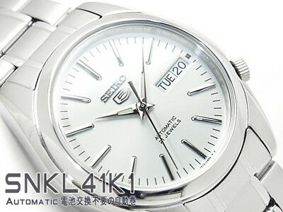 Seiko 5 Men's SNKL41K1 Stainless Steel Automatic 21 Jewels Day Date Watch