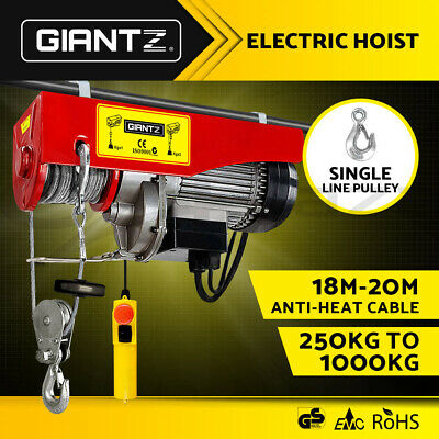 Giantz 250KG-1000KG Electric Hoist Winch Rope Remote Chain Lifting Cable 18M 20M