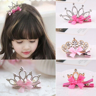 Hair Hairpin Bowknot Clip Ribbon Girls Baby Kids Zircon Crown Rhinestone Clip