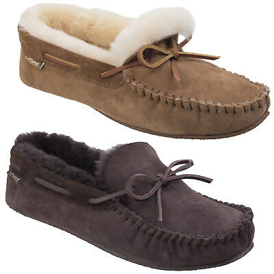 Cotswold Chastleton Sheepskin Moccasin Mens Classic Leather Comfort Slippers