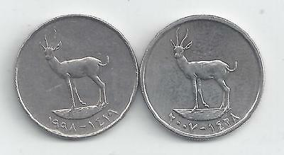 2 DIFFERENT 25 FILS COINS from the UNITED ARAB EMIRATES (1998 & 2007)