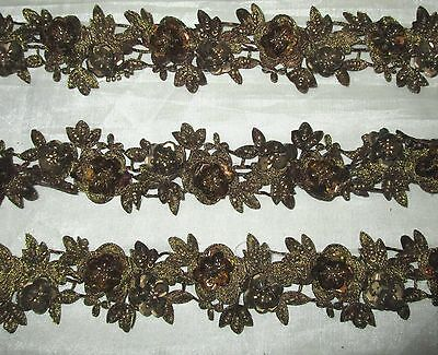 * Vintage Antique Border Sari Trim Lace  2 ft Flower Floral Dark Khaki #ABH67