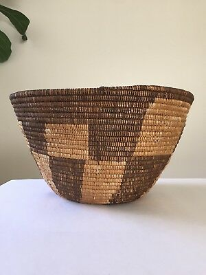Large Old Checkered 2-Tone Coiled Southwest Tribal Basket / Bowl