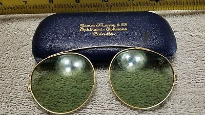 Antique JAMES MURRAY CALCUTTA OPHTHALMIC OPTIC Sunglasses Org Case Round Clip On