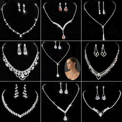 Women Fashion Crystal Rhinestone Pendant Necklace Earrings Wedding Jewelry Set