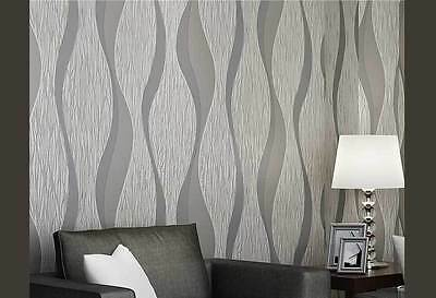 3D brushed curve wave SILVER GREY wallpaper modern textured wall paper roll 10M