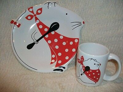 Waechtersbach W Germany Child Children's Dishes Pottery Mouse Plate Mug Cup