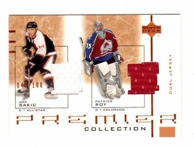 Patrick Roy /joe Sakic Nhl 2001-02 Ud Premier Collection Dual Jerseys (Avalanche