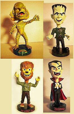1997 Universal Monsters Bobble heads Creature Frankenstein Dracula Wolfman set 4