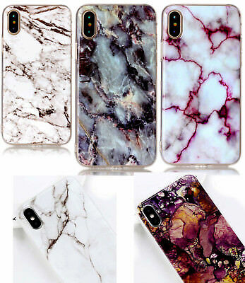 for iPhone X / XS / 10S - Hard TPU Rubber Gummy Case Cover Marble Stone Pattern