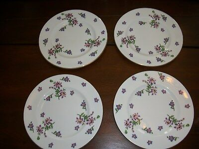 Vintage 8 1/8 inch 4 pc Salad Plate Set Hand Painted Fine China - England