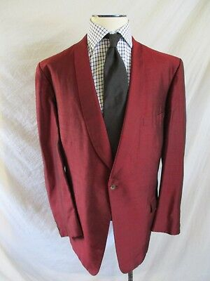 SHAWL LAPEL vintage 60s 70s Lord West red formal tuxedo dinner blazer jacket 38S