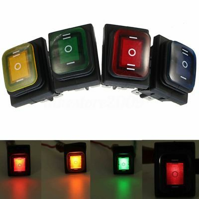3 Position LED Lighted 6 Pin Car Boat Rocker Switch ON-OFF-ON DPDT 16A 250V Q