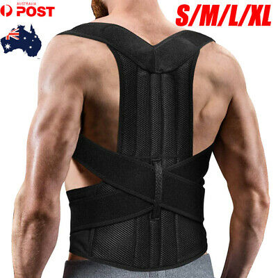 Unisex Posture Corrector Lumbar Lower Back Support Shoulder Brace Pain Relief AU