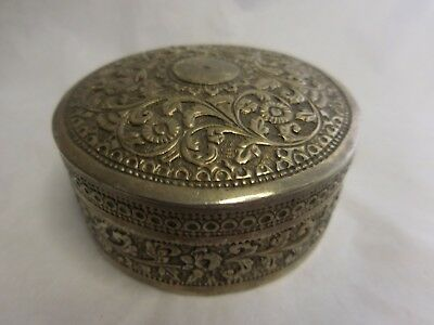 Silver Hand Crafted Round Floral Chased Box India? Persia? W Slip Fit Lid