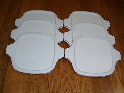 6 NEW Corning Ware P-41 P-43 Petite White Plastic Storage Covers Lids, FREE SHIP
