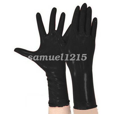 Latex Pure 100% Rubber Gloves Five Fingers Gloves Black Size S-XL