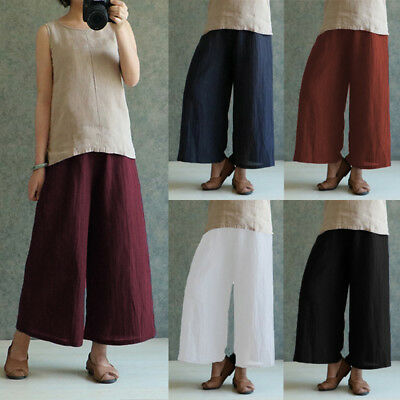 100%Cotton Women Vintage High Elastic Waist Harem Trouser Wide Leg Pants Palazzo