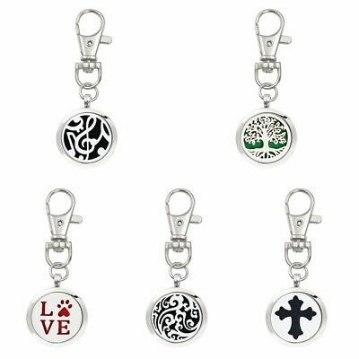 New Arrive Aroma Diffuser Locket Keychain Alloy Keychain Keyrings With Free 5Pad