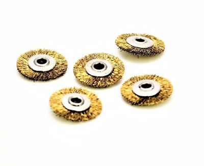 5 x Unmounted Small Brass Wire Flat Wheel Brushes, 2.35mm Bore Diameter. X8125
