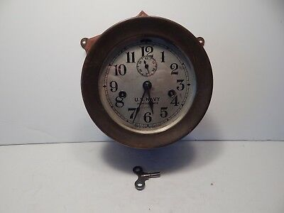"""SETH THOMAS WWII US NAVY No. 3 BRASS SHIPS DECK CLOCK - LARGE 7 1/4"""" - WORKS"""