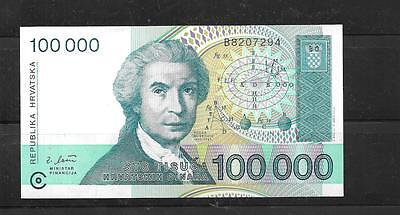CROATIA #27a 1993 XF CIRCULATED 100000 DINARA OLD BANKNOTE BILL NOTE PAPER MONEY