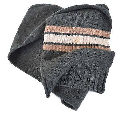 New Gucci Children's 269513 Grey Wool Interlocking GG Scarf Muffler