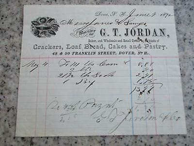 1872 ADVERTISING billhead DOVER NEW HAMPSHIRE G T JORDAN BAKER PIES CAKES PASTRY
