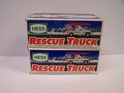 Lot Of 2 1994 Hess Rescue Trucks **FREE S&H**