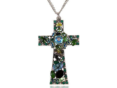Synthetic Emerald Tone Holy Cross Elegance Eternity Cluster Magic Chain Necklace