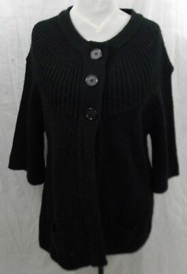 Derek Heart Maternity Sweater Black Womans XL Button Front Pockets Long Length