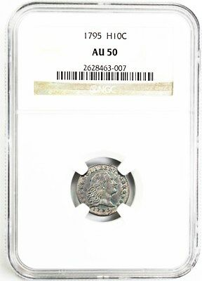 1795 H10c NGC AU50 - Pretty Blue Highlights - Early Half Dime