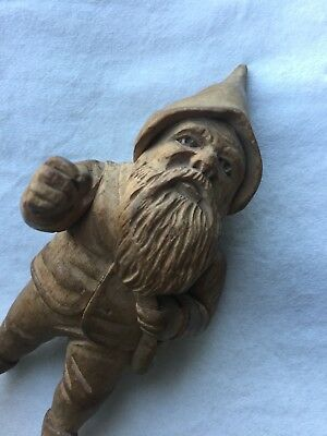 Antique Carved Black Forest Wooden Pixie / Gnome / Elf Decorative Figure