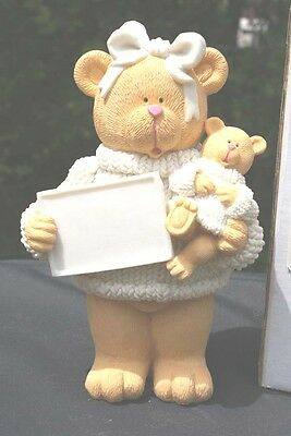 Teddy Bear & Baby Bear Messenger Name Plaque Message Statue You Paint It NEW