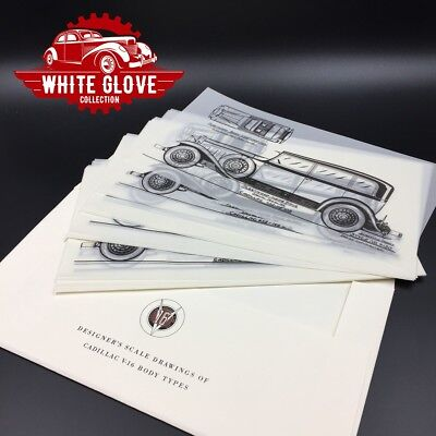 Cadillac V-16 Fleetwood Body Types Designer's Scale Drawings - 31 Total w/Env.