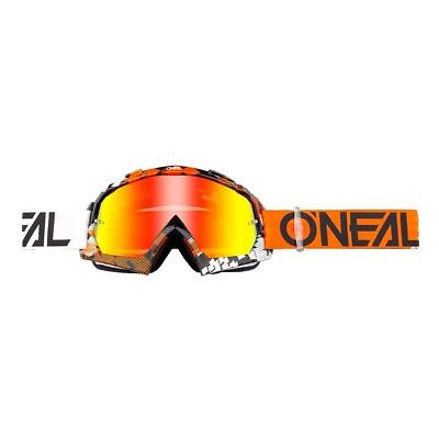 Oneal B-10 Crossbrille Enduro DH MX Brille PIXEL orange weiss verspiegelt