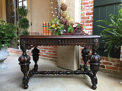 Antique English Carved Oak Sofa Foyer Library TABLE Jacobean Tudor Writing Desk