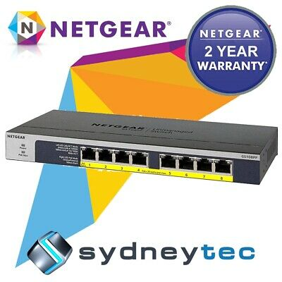 New Netgear GS108PP 8-port Gigabit Ethernet PoE+ Unmanaged Switch