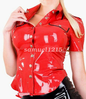 latex new Rubber Women Gummi Professional Women Shirt Uniforms Jacket XXS-XXL